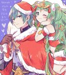 1boy 1girl armor bare_shoulders black_armor blue_background blush bow braid brown_gloves byleth_(fire_emblem) byleth_(fire_emblem)_(male) byleth_eisner_(male) cape christmas christmas_ornaments closed_mouth commentary_request dress elf eyebrows_visible_through_hair fire_emblem fire_emblem:_fuukasetsugetsu fire_emblem:_three_houses fire_emblem_16 fire_emblem_heroes floating fur-trimmed_cape fur-trimmed_dress fur_trim gloves green_eyes green_hair green_ribbon hair_between_eyes hair_ornament hair_ribbon hat heart highres holding holding_sack human intelligent_systems long_hair looking_at_viewer manakete moe navel navel_cutout nintendo one_eye_closed pointy_ears red_bow red_cape red_dress red_ribbon ribbon ribbon_braid sack santa_costume santa_hat short_hair simple_background smile sothis_(fire_emblem) star_(symbol) tiara twin_braids yataba