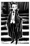 cape dracula_(cosplay) fangs halloween halloween_costume monochrome ojamajo_doremi senoo_aiko shrums stairs tree vampire