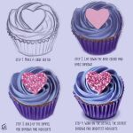 commentary english_commentary english_text floortjesart food heart how_to original purple_background purple_theme signature simple_background sweets