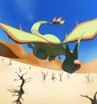 bare_tree blue_sky commentary creature day desert english_commentary flygon flying full_body gen_3_pokemon no_humans pinkgermy pokemon pokemon_(creature) sand sky solo tree