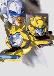 1980s_(style) 3boys absurdres autobot blue_eyes bumblebee character_request english_commentary goldbug highres hinomars19 horns looking_ahead looking_up mecha multiple_boys no_humans retro_artstyle science_fiction transformers upper_body visor