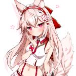 1girl animal_ear_fluff animal_ears armpit_crease bare_arms bare_shoulders breasts bright_pupils closed_mouth collared_shirt crop_top fox_ears fox_girl fox_tail groin hair_ornament hairband hand_up highres long_hair looking_at_viewer midriff navel necktie pink_eyes pink_hair shirt short_necktie simple_background sleeveless sleeveless_shirt small_breasts solo stomach suspenders tail tail_raised takanashi_kei_(hitsujikan) upper_body v vrchat white_background white_shirt wrist_cuffs