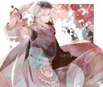 1boy bracelet cape dangowamu gears gen_5_pokemon jewelry klinklang male_focus personification pokemon silver_hair solo standing white_background