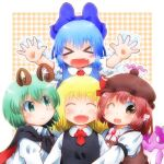 >_< bangs blonde_hair blue_hair breasts brown_eyes cirno closed_eyes closed_mouth green_eyes green_hair long_sleeves looking_at_another looking_at_viewer matty_(zuwzi) mystia_lorelei open_mouth redhead rumia team_9 touhou wriggle_nightbug