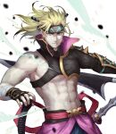 1boy abs asymmetrical_clothes bare_pecs blonde_hair blue_eyes chest_harness debris fate/grand_order fate_(series) harness headband heian_warrior_attire_(fate/grand_order) high_collar highres holding holding_weapon igote kouzuki_kei looking_at_viewer male_focus muscle sakata_kintoki_(fate/grand_order) solo sword upper_body weapon