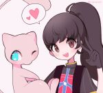 1girl alternate_costume alternate_hair_length alternate_hairstyle artist_name backpack bag bangs black_gloves blue_eyes blush brown_eyes brown_hair clarevoir closed_mouth commentary_request english_commentary flat_chest gen_1_pokemon gloria_(pokemon) gloves hair_tie hand_up happy heart legendary_pokemon long_hair looking_at_viewer looking_to_the_side mew mixed-language_commentary multicolored_shirt mythical_pokemon one_eye_closed open_mouth outline partial_commentary pink_background pink_outline pokemon pokemon_(creature) pokemon_(game) pokemon_swsh ponytail shirt short_sleeves simple_background smile speech_bubble spoken_heart teeth tied_hair twitter_username upper_body v watermark