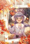 1girl autumn_leaves bangs blue_hair blue_headwear blue_shirt blunt_bangs bookshelf collar collared_shirt commentary eel_hat fang hair_ornament hairclip leaf long_hair maple_leaf nanase_(nns_6077) open_mouth otomachi_una red-tinted_eyewear sailor_collar semi-rimless_eyewear shirt smile talkex twintails upper_body very_long_hair vocaloid white_collar window wooden_floor