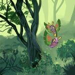 bug commentary creature dustox english_commentary flying forest gen_3_pokemon insect looking_at_viewer memookami moth nature no_humans outdoors plant pokemon pokemon_(creature) smile tree yellow_eyes