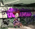 bag drinking graffiti harukaze_doremi hoodie mcdonald's ojamajo_doremi paper_bag shrums squatting under_bridge
