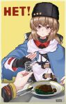 blue_shawl brown_eyes brown_hair closed_mouth cyrillic fingerless_gloves food fork glass gloves hair_ornament hairpin highres kantai_collection long_hair nansero no papakha parody rejection scarf star_(symbol) tashkent_(kantai_collection) twitter_username white_scarf