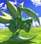 black_eyes blue_sky claws clouds cloudy_sky creature day full_body gen_1_pokemon grass green_theme no_humans outdoors pinkgermy pokemon pokemon_(creature) scyther sky solo