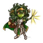 amulet armor cloak colored_skin fang full_body goblin green_hair green_skin hair_ornament konsi long_hair magic notched_ear original outstretched_arm plate_armor pointy_ears shield socksandpuppets standing