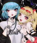 2girls alternate_costume arm_tattoo armpit_crease armpit_peek bangs bare_shoulders bitaro black_jacket blonde_hair blue_hair chain claw_pose commentary_request contemporary ear_piercing eyebrows_visible_through_hair eyelashes eyeshadow fangs fingernails flandre_scarlet flower flower_necklace hair_ornament hair_ribbon hairpin hand_tattoo hand_up hat head_tilt highres jacket jewelry lightning lip_piercing long_fingernails looking_at_viewer makeup mask mask_pull mask_removed multiple_girls nail_polish necklace off_shoulder one_side_up open_mouth outstretched_hand piercing pointy_ears raised_eyebrow red-tinted_eyewear red_eyes red_nails red_ribbon remilia_scarlet ribbon ring rose sharp_fingernails shirt short_hair shoulder_strap shoulder_tattoo siblings sidelocks sisters smile tattoo tongue tongue_out tongue_piercing touhou upper_body watch watch white_shirt wristband