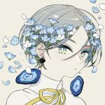 1girl absurdres blue_flower blue_menouu blush collared_shirt earrings flower geode gradient_eyes highres jewelry multicolored multicolored_eyes original petals portrait ribbon shadow shirt solo tan_background white_flower yellow_neckwear yellow_ribbon