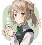 1girl brown_eyes commentary_request cup double_bun dress green_tea hatomaru_(hatomaru56) holding holding_cup kantai_collection light_brown_hair long_sleeves looking_at_viewer michishio_(kantai_collection) pinafore_dress remodel_(kantai_collection) shirt short_twintails solo steam tea twintails two-tone_background upper_body white_shirt yunomi