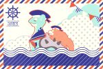 border closed_mouth commentary_request creature ekm english_text fangs gen_1_pokemon hat hatted_pokemon lapras no_humans pokemon pokemon_(creature) polka_dot riding riding_pokemon sailor_hat slowpoke smile striped_border water waves