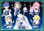 1other 2boys 4girls bangs bass_clef bell beret blonde_hair blue_bow blue_dress blue_eyes blue_gloves blue_hair blue_headwear blunt_bangs book bow braid brown_eyes brown_hair capelet chibi christmas_lights clock_print commentary crypton_future_media dress framed_image fur-trimmed_capelet fur_trim gloves gold_trim hair_bow hair_ornament hairclip hakusai_(tiahszld) hand_on_own_chest hands_together hat hat_bow hatsune_miku holding holding_bell holding_book kagamine_len kagamine_rin kaito light_blue_eyes light_blue_hair looking_at_viewer megurine_luka meiko multiple_boys multiple_girls night official_art open_book outstretched_arm piapro pink_hair rabbit_yukine roman_numerals short_hair smile snowflake_print snowflakes treble_clef_hair_ornament tree twintails violet_eyes vocaloid white_capelet white_dress white_headwear yuki_kaito yuki_len yuki_luka yuki_meiko yuki_miku yuki_miku_(2021) yuki_rin