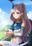 1girl bangs breasts clouds cup detached_sleeves dvdraw english_commentary eyebrows_behind_hair green_hair highres holding holding_cup hololive hololive_indonesia large_breasts midriff_cutout mountain navel pavolia_reine side_ponytail silver_hair sky smile solo teacup virtual_youtuber