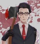 1boy axe black_gloves black_hair blood blood_on_face bloody_weapon brown_eyes expressionless glasses gloves isa_(peien516) joseph_oda male_focus necktie solo the_evil_within vest waistcoat weapon