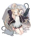 1girl abigail_williams_(fate/grand_order) abigail_williams_(swimsuit_foreigner)_(fate) absurdres animal armpits arms_up bangs bare_legs bare_shoulders barefoot black_cat black_jacket blonde_hair blue_eyes blush braid cat commentary_request double_bun fate/grand_order fate_(series) frilled_swimsuit frills full_body hat highres jacket keyhole long_hair parted_bangs seyana solo swimsuit twintails very_long_hair white_headwear white_swimsuit