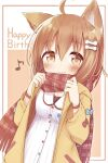 1girl ahoge animal_ear_fluff animal_ears ayanepuna bangs blue_bow blush bone_hair_ornament bow breasts brown_background brown_eyes brown_hair brown_scarf cartoon_bone closed_mouth commentary dress dutch_angle eighth_note eyebrows_visible_through_hair fringe_trim hair_between_eyes hair_ornament happy_birthday highres hololive hood hood_down hooded_jacket inugami_korone jacket musical_note open_clothes open_jacket plaid plaid_scarf red_bow scarf small_breasts smile solo two-tone_background upper_body virtual_youtuber white_background white_dress yellow_jacket