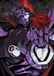1boy broken_mask decepticon english_commentary flower highres hinomars19 holding holding_flower looking_down mask mecha no_humans parted_lips red_eyes red_flower red_rose rose smile solo tarn the_transformers_(idw) transformers