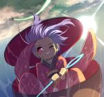 2girls above_clouds aerial_battle battle black_headwear blonde_hair broom broom_riding clenched_teeth clouds commentary_request dogfight flying hat highres holding holding_needle in_bowl in_container japanese_clothes kimono kirisame_marisa lens_flare light_trail long_sleeves multiple_girls needle one_eye_closed outdoors print_kimono purple_hair red_eyes red_kimono shope short_hair sky sukuna_shinmyoumaru sun sweat teeth touhou upside-down wide_sleeves wind witch_hat