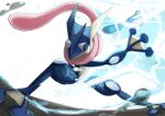 1boy arms_up artist_name commentary_request fisheye full_body furry gen_6_pokemon greninja highres ikei jpeg_artifacts legs_apart long_tongue male_focus outstretched_arms pokemon pokemon_(creature) red_eyes shuriken signature simple_background solo standing tongue tongue_out water white_background