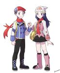 1boy 1girl alternate_costume bag beanie belt black_footwear black_legwear black_pants boots buttons clenched_hand closed_mouth commentary_request dawn_(pokemon) dress eyelashes grey_eyes hair_ornament hairclip handbag hat highres holding holding_poke_ball jacket long_hair long_sleeves lucas_(pokemon) mixar0807 pants pink_footwear poke_ball pokemon pokemon_(game) pokemon_dppt red_headwear red_scarf scarf smile socks standing white_headwear yellow_bag