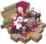 2boys :x arai_12 arm_blade armored_boots bangs black_pants black_shirt boots brown_hair cactus carpet closed_mouth coffee coffee_mug commentary_request cup curtains doll_hug eyebrows_visible_through_hair full_body green_eyes guillotine_cross_(ragnarok_online) hair_between_eyes hand_on_own_knee isometric looking_at_another looking_at_viewer male_focus monkey mug multiple_boys open_mouth pants paper pillow plant pot potted_plant rabbit ragnarok_online red_eyes red_scarf scarf shirt shoe_blade short_hair simple_background sitting sleeveless sleeveless_shirt stuffed_animal stuffed_toy table torn_scarf violet_eyes weapon white_background white_hair yoyo_(ragnarok_online)