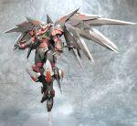 gundam gunpla highres kagemitsu mecha mechanical_wings model_kit no_humans open_hands original photo_(medium) red_eyes solo v-fin wings