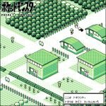 1girl 4boys baseball_cap building commentary_request copyright_name door flower from_above grass hat kounog ledge lowres multiple_boys path pixel_art pokemon pokemon_(game) pokemon_center pokemon_rgby red_(pokemon) shop short_hair sign standing translation_request tree viridian_city walking