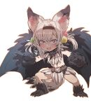 1girl :3 :d animal_ear_fluff belt blush bow_(bhp) claws copyright_request fang fewer_digits legs_apart looking_at_viewer monster_girl open_mouth pelvic_curtain red_eyes simple_background smile solo standing tail twintails v-shaped_eyebrows white_background wings