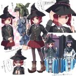 1boy 2girls :d ^_^ black_headwear black_jacket black_legwear blue_shirt blue_skirt blush boots brown_hair chabashira_tenko checkered checkered_scarf closed_eyes collared_shirt commentary_request danganronpa full_body hair_ornament hairclip hand_on_hip hands_up hat index_finger_raised jacket long_hair multiple_girls nanao_(nanao1023) new_danganronpa_v3 open_mouth ouma_kokichi pantyhose pleated_skirt purple_hair red_skirt redhead scarf school_uniform shirt short_hair skirt smile solo_focus speech_bubble standing straitjacket sweatdrop translation_request trembling witch_hat yumeno_himiko