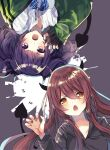 2girls bangs black_hoodie black_nails blue_bow bow bowtie brown_hair chestnut_mouth commentary_request demon_horns demon_tail diagonal_bangs green_jacket highres hood hoodie horns idolmaster idolmaster_shiny_colors ikusa_(puchi) jacket long_hair long_sleeves looking_at_viewer multiple_girls oosaki_tenka open_mouth plaid plaid_bow purple_hair school_uniform shirt short_twintails simple_background tail tanaka_mamimi twintails upper_body violet_eyes white_shirt yellow_eyes