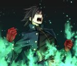 1boy belt belt_buckle black_hair buckle character_request clenched_hands copyright_request fire gloves green_eyes green_fire m.u.g.e.n male_focus open_mouth red_gloves rion_(glayjirobass) shouting solo teeth tongue zipper zipper_pull_tab