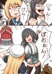 2girls anger_vein animal_costume arm_warmers asashio_(kantai_collection) black_hair black_legwear blonde_hair blue_eyes blue_sailor_collar clothes_removed comiching commentary_request dress grey_skirt hat highres jervis_(kantai_collection) kantai_collection long_hair multiple_girls pleated_skirt red_sweater reindeer_costume rock_paper_scissors sailor_collar sailor_dress sailor_hat shirt short_sleeves skirt suspender_skirt suspenders sweater thigh-highs translation_request white_shirt