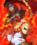 2boys bangs baseball_cap blonde_hair cape champion_uniform closed_mouth commentary_request crossover dark_skin dark_skinned_male dynamax_band facial_hair fire fur-trimmed_cape fur_trim gloves grey_cape hat highres holding holding_cape holding_poke_ball kimetsu_no_yaiba leon_(pokemon) long_hair long_sleeves male_focus mixar0807 multicolored_hair multiple_boys poke_ball poke_ball_(basic) pokemon pokemon_(game) pokemon_swsh purple_hair red_cape redhead rengoku_kyoujurou shirt short_sleeves sideways_glance smile two-tone_hair yellow_eyes