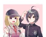 1boy 1girl ahoge akamatsu_kaede arm_up backpack bag bangs baseball_cap black_hair black_jacket blonde_hair blush border breasts brown_eyes collared_shirt commentary_request cosplay costume_switch danganronpa frown gakuran hair_between_eyes hair_ornament hands_up hat jacket large_breasts long_hair long_sleeves musical_note musical_note_hair_ornament nanako_01023 necktie new_danganronpa_v3 open_mouth saihara_shuuichi school_uniform shirt short_hair smile striped_jacket sweater_vest twitter_username white_border white_shirt yellow_eyes