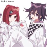 1boy 1girl animal_costume animal_ears animal_print bangs black_hair cat_costume cat_ears cat_tail checkered checkered_scarf closed_mouth commentary_request danganronpa from_side hair_between_eyes hair_ornament hairclip hand_up hood hood_down looking_at_viewer nanao_(nanao1023) new_danganronpa_v3 open_mouth ouma_kokichi paws purple_hair red_eyes redhead scarf short_hair simple_background sitting smile tail tiger_costume tiger_ears tiger_print violet_eyes white_background yumeno_himiko
