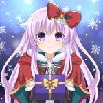 1girl black_gloves box christmas elbow_gloves gift gift_box gloves hair_ornament highres lewdkuma long_hair looking_at_viewer merry_christmas nepgear neptune_(series) purple_hair smile snowflakes solo violet_eyes