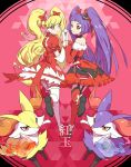 2girls alternate_color asahina_mirai bangs blonde_hair bow braixen closed_mouth commentary_request cure_magical cure_miracle dress elbow_gloves eyebrows_visible_through_hair eyelashes gen_6_pokemon gloves heart highres holding_hands interlocked_fingers izayoi_liko leg_garter leg_up long_hair looking_back mahou_girls_precure! mixar0807 multiple_girls orange_dress pokemon pokemon_(creature) precure purple_hair red_dress red_legwear ruby_style shiny shiny_hair shiny_pokemon shoes short_sleeves thigh-highs twintails very_long_hair violet_eyes white_legwear