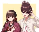 1boy 1girl bangs blunt_bangs blush brown_hair collarbone collared_shirt commentary_request cosplay costume_switch danganronpa dress_shirt facial_hair goatee hair_ornament hair_scrunchie hairclip hand_on_another's_shoulder hand_up harukawa_maki jacket jacket_on_shoulders long_hair long_sleeves looking_at_another low_twintails mole mole_under_eye momota_kaito nanako_01023 new_danganronpa_v3 open_clothes open_jacket open_mouth open_shirt pink_jacket pointing pout print_shirt red_eyes red_scrunchie red_shirt scrunchie shirt spiky_hair sweatdrop twintails twitter_username upper_body white_background white_shirt yellow_background