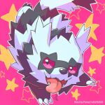 artist_name claws commentary_request galarian_form galarian_zigzagoon gen_8_pokemon no_humans open_mouth outline peron_(niki2ki884) pink_background pokemon pokemon_(creature) sideways_glance solo star_(symbol) tongue tongue_out violet_eyes watermark