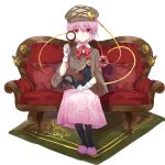 1girl cabbie_hat coat dress floral_print gloves hat highres kaenbyou_rin kaenbyou_rin_(cat) kanta_(pixiv9296614) komeiji_satori magnifying_glass pantyhose pink_hair red_eyes ribbon rose_print short_hair sitting third_eye touhou white_gloves
