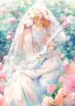 1boy 1girl bangs blue_eyes blue_neckwear bridal_gauntlets bridal_veil collared_shirt dress emma_(yakusoku_no_neverland) flower from_side girl_on_top green_eyes grin highres holding_another kinokohime long_hair looking_at_another looking_down looking_up neck_tattoo norman_(yakusoku_no_neverland) number_tattoo orange_hair shirt short_hair smile tattoo veil wedding wedding_dress white_dress white_hair white_shirt wreath yakusoku_no_neverland