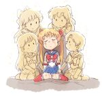5girls :d aino_minako bangs bishoujo_senshi_sailor_moon bow breasts bruise chibi choker circlet closed_eyes closed_mouth crescent crescent_earrings dirty dissolving dying earrings fading gloves goodbye hair_bow hair_ornament half_updo hand_on_another's_head hino_rei hurt injury inner_senshi jewelry kino_makoto kneehighs knees_up leaning_back leaning_forward light_smile long_hair looking_at_another magical_girl medium_breasts miniskirt mizuno_ami monochrome multiple_girls on_ground open_mouth petting pleated_skirt ponytail profile sailor_collar sailor_jupiter sailor_mars sailor_mercury sailor_moon sailor_senshi_uniform sailor_venus sitting skirt smile torn_clothes translucent transparent tsubobot tsukino_usagi very_long_hair