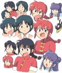 1boy 3girls animal apron black_eyes black_hair braid braided_ponytail couple double_bun dougi eyebrows_visible_through_hair genderswap genderswap_(mtf) highres looking_at_viewer multiple_girls multiple_views p-chan pig pink_shirt purple_hair ranma-chan ranma_1/2 redhead saotome_ranma shampoo_(ranma_1/2) shirt single_braid smile tsubobot