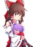 2girls antenna_hair aospanking bare_shoulders blush bow brown_eyes brown_hair closed_eyes commentary_request crying detached_sleeves eyebrows_visible_through_hair hair_between_eyes hair_bow hair_intakes hair_tubes hakurei_reimu half_updo hand_on_another's_head head_on_chest hug japanese_clothes kimono leaf_print long_hair looking_at_another looking_down minigirl motherly multiple_girls obi partial_commentary purple_hair red_kimono red_vest ribbon-trimmed_sleeves ribbon_trim sash short_sleeves sidelocks simple_background smile sukuna_shinmyoumaru tears touhou vest white_background