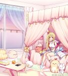1girl :d ahoge bare_shoulders bed black_choker blonde_hair blue_shorts breasts canopy_bed choker crop_top curtains front-tie_top hair_ornament hair_ribbon heterochromia highleg highres hoshikawa_sara indoors jacket komeshiro_kasu large_breasts long_hair long_sleeves looking_at_viewer midriff navel nijisanji off_shoulder on_bed open_clothes open_jacket open_mouth red_eyes ribbon shirt short_shorts shorts side_ponytail sitting sleeveless sleeveless_shirt sleeves_past_fingers sleeves_past_wrists smile socks solo stomach stuffed_animal stuffed_toy table tank_top thigh_strap thighs very_long_hair white_jacket white_legwear white_shirt window x_hair_ornament yellow_eyes